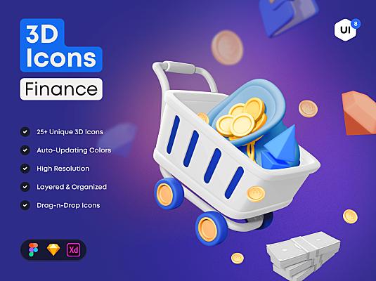 25个金融主题常用3Dicon图标素材包 3D Icon Pack Finance