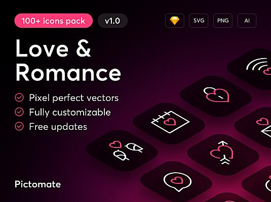 100+精选爱情&浪漫主题矢量icon图标 Love & Romance – 100+ Icons Pack