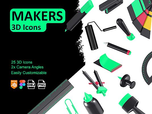 25个3D创意文具主题icon图标合集 Makers – 3D Icons