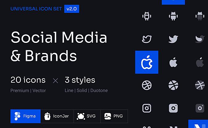 3种不同线条社交媒体&品牌icon图标主题 Social Media and Brands Icon Set
