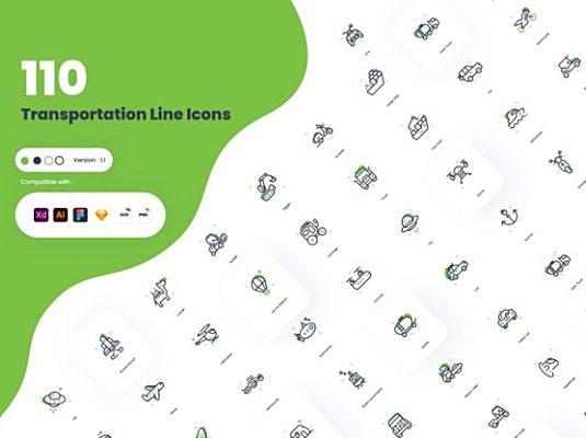 110+最全的交通运输工具主题icon图标合集 Duo Tone Transportation Icons