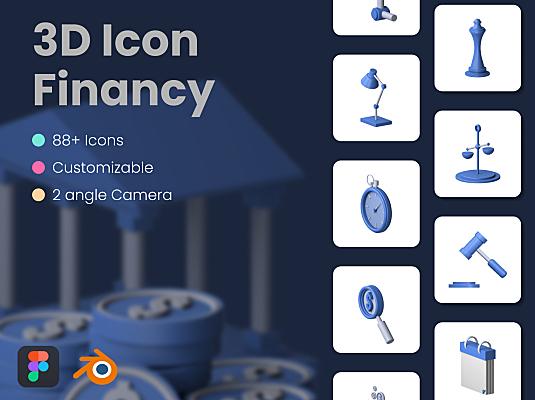 3D金融财务主题系列icon图标素材合集 3D Financy Icon