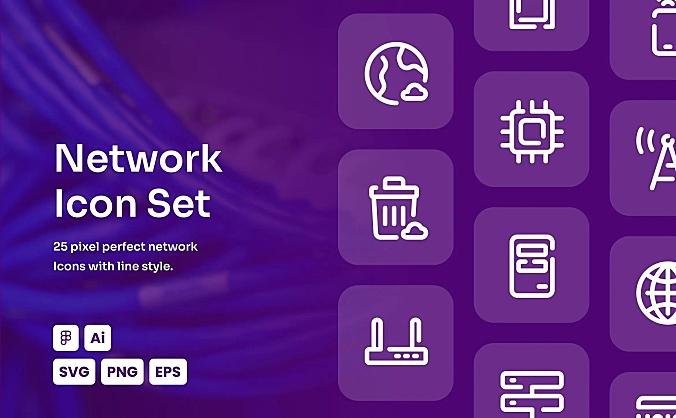 网络互联网主题线条icon图标合集 network-dashed-line-icon-set