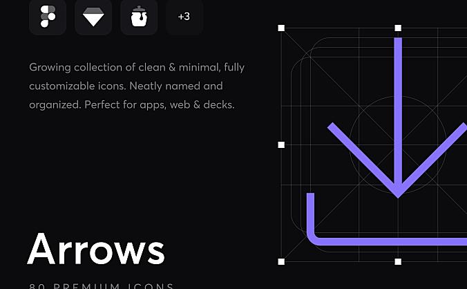 80个细线条箭头icon图标合集 Arrows – Premium Icons