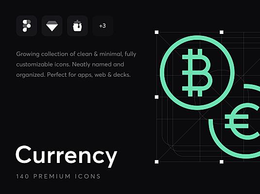 140+简约细线条金融货币主题icon图标素材 Currency – Premium Icons