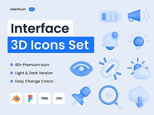 60+3D网页&APP界面基本图标icon素材 Interficon – 3D Interface Icons