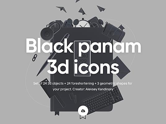 24个深色风格学习工作日常主题3D图标素材 Black Panam – Icon pack
