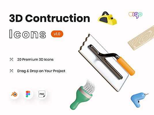 20个高级施工工具主题3D图标 Mantools – Construction Tools 3D Icons