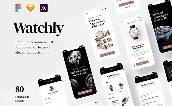 高端豪华钟表商城电子商务APP应用设计UI套件 Watchly – Ecommerce UI Kit