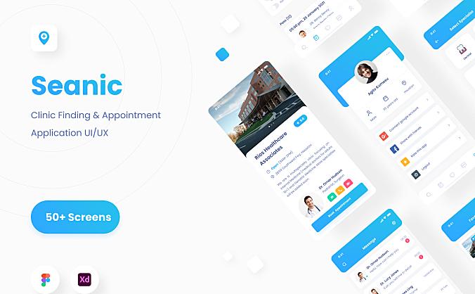 医院诊所查找App应用iOS UI套件 Seanic – Find Clinic App UI Kit