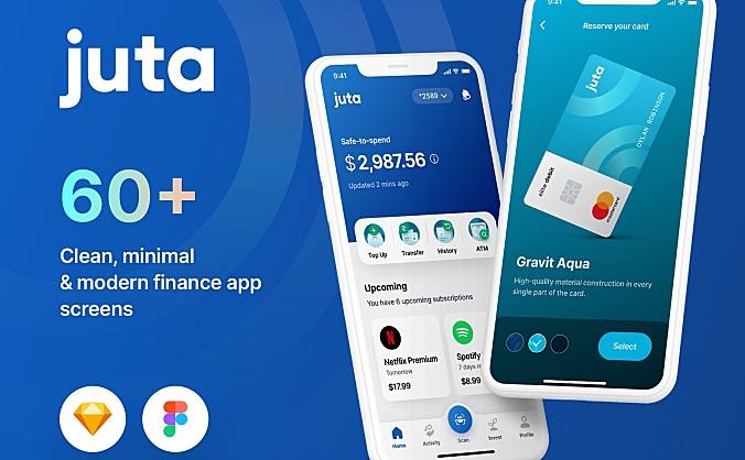 钱包金融交易App应用程序 UI 套件 Juta Finance App UI Kit  60+ Screens (Sketch, Figma)