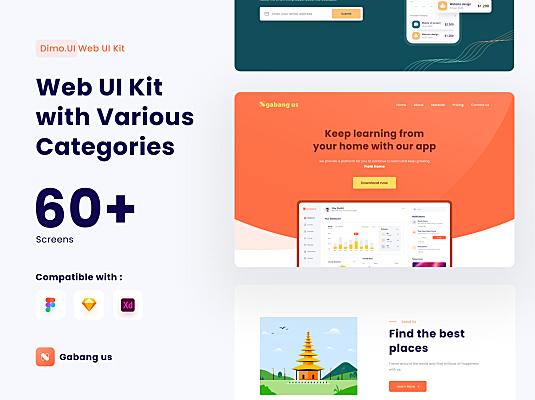 Ngabangus插画登陆页网页设计UI套件 Ngabangus UI Kit Web Design