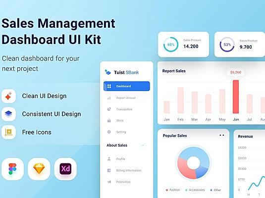 销售主题网站管理仪表板设计UI套件 saless-management-dashboard-ui-kit