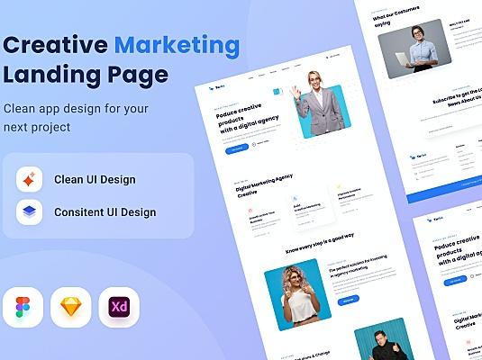 创意销售营销网站登陆页UI设计模板 creativee-marketing-landing-page