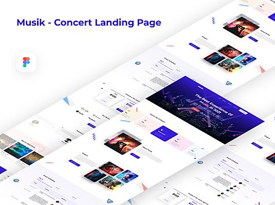 音乐演唱会网站登陆页设计UI套件 Musik – Concert Landing Page