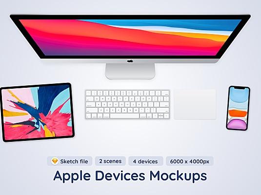 苹果系列设备屏幕展示顶视图Sketch设计样机 apple-devices-top-view-sketch-mockup