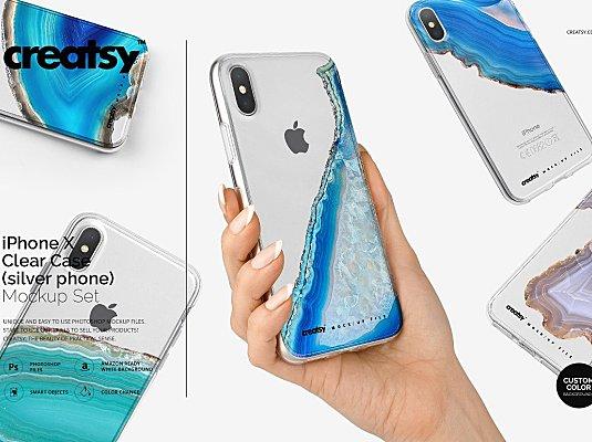 手持iPhone X设计样机展示模型 iPhone X Clear Case Mockup Set Silv